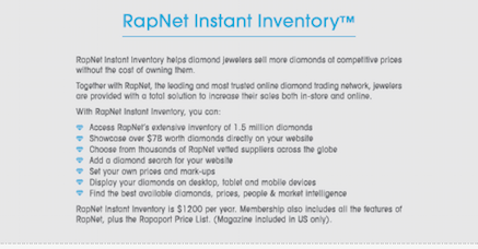 RapNet Instant Inventory At A Glance